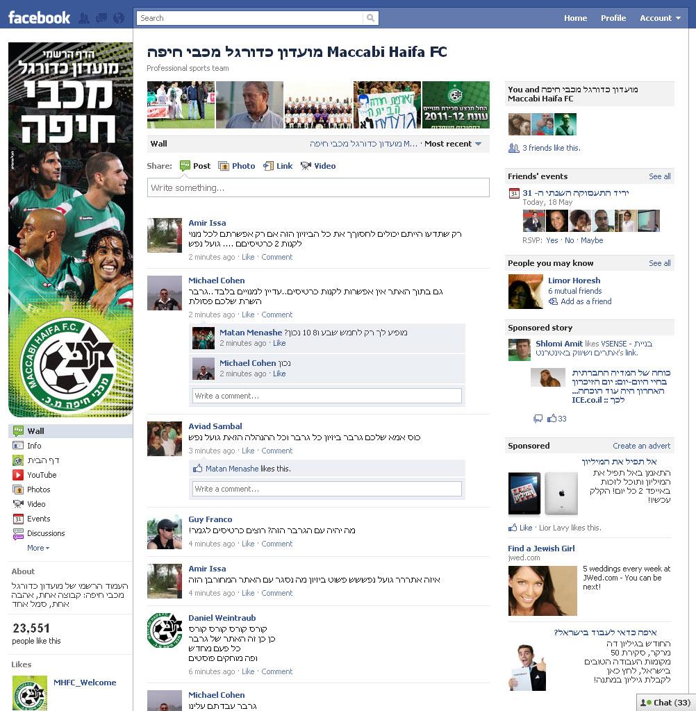 דף הפייסבוק של מכבי חיפה, אתמול